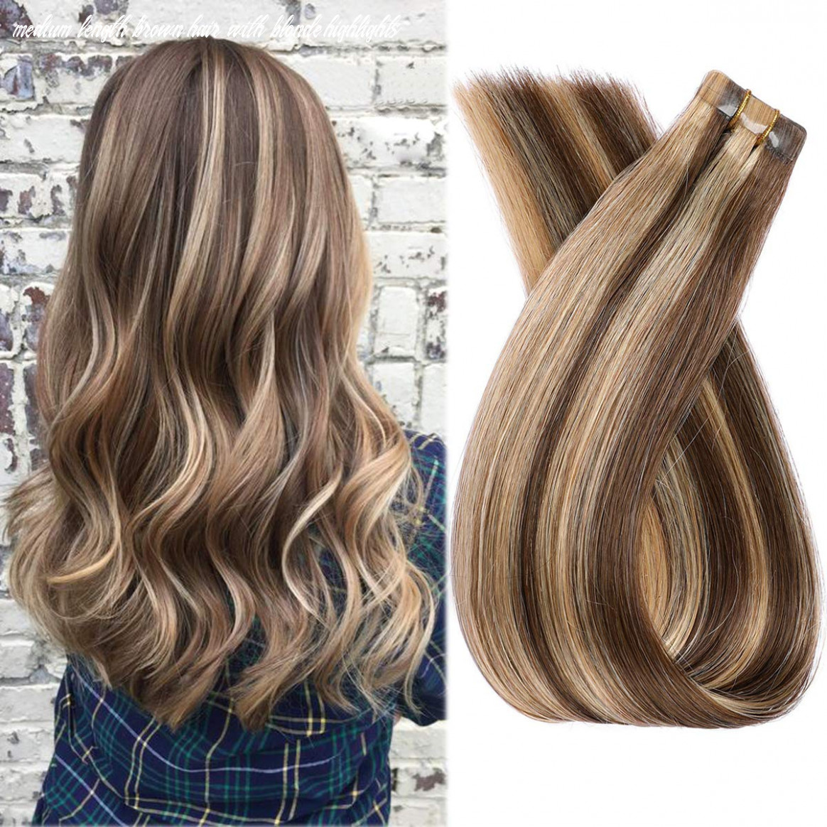 """11"""" long human hair tape in extensions medium brown to strawberry blonde highlights 11grams/11pcs straight soft blonde balayage remy hair tape"""