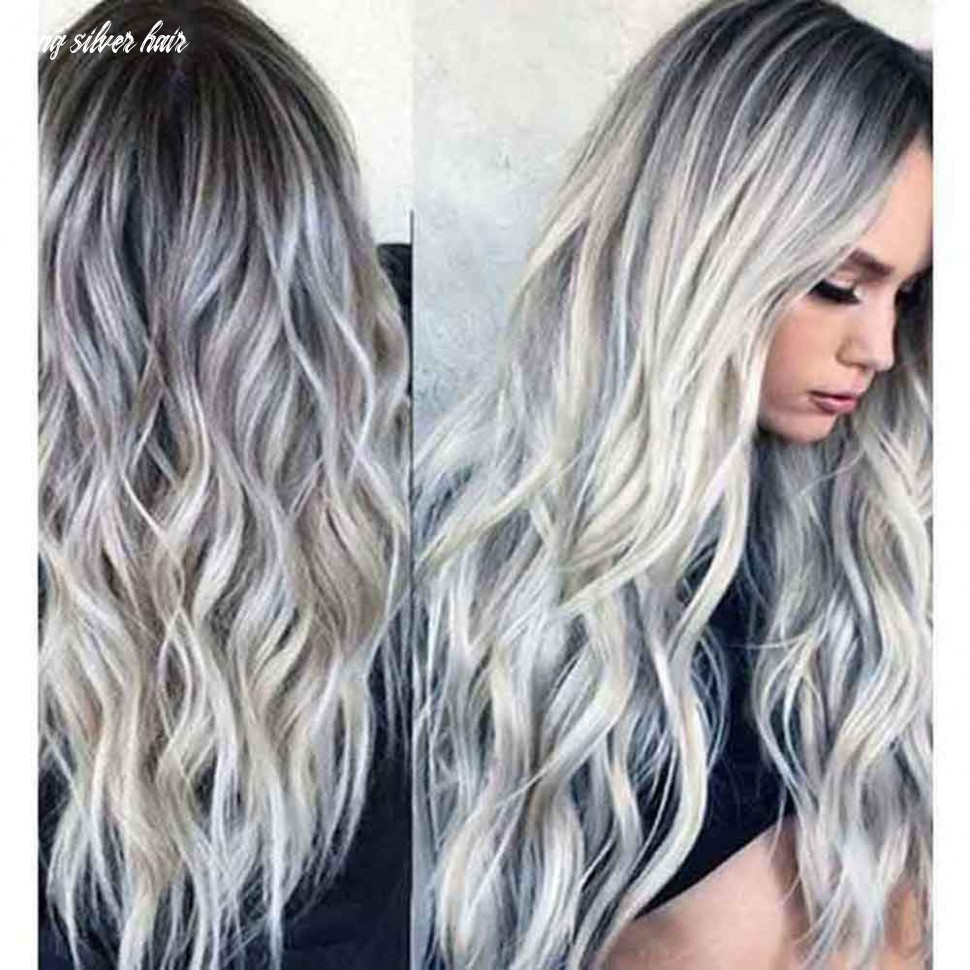 """11"""" natural full wigs hair long wavy wig synthetic heat resistant (ombre silver) long silver hair"""