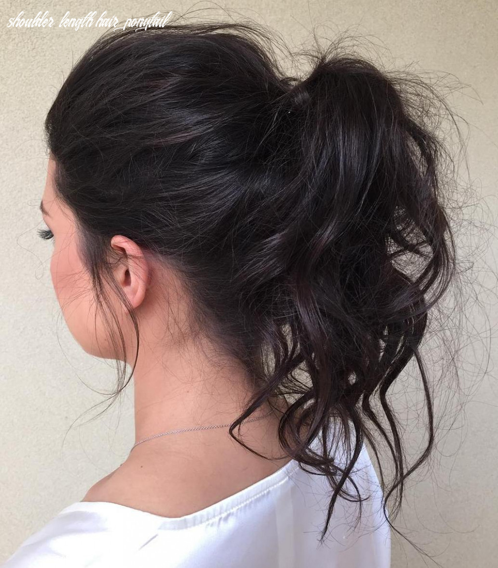 12 eye catching ways to style curly and wavy ponytails shoulder length hair ponytail