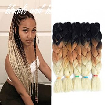 12 tone ombre kanekalon jumbo braiding hair 12 inch 12pcs/lot synthetic african brown and blonde colorful pre stretched braiding hair for twist crochet
