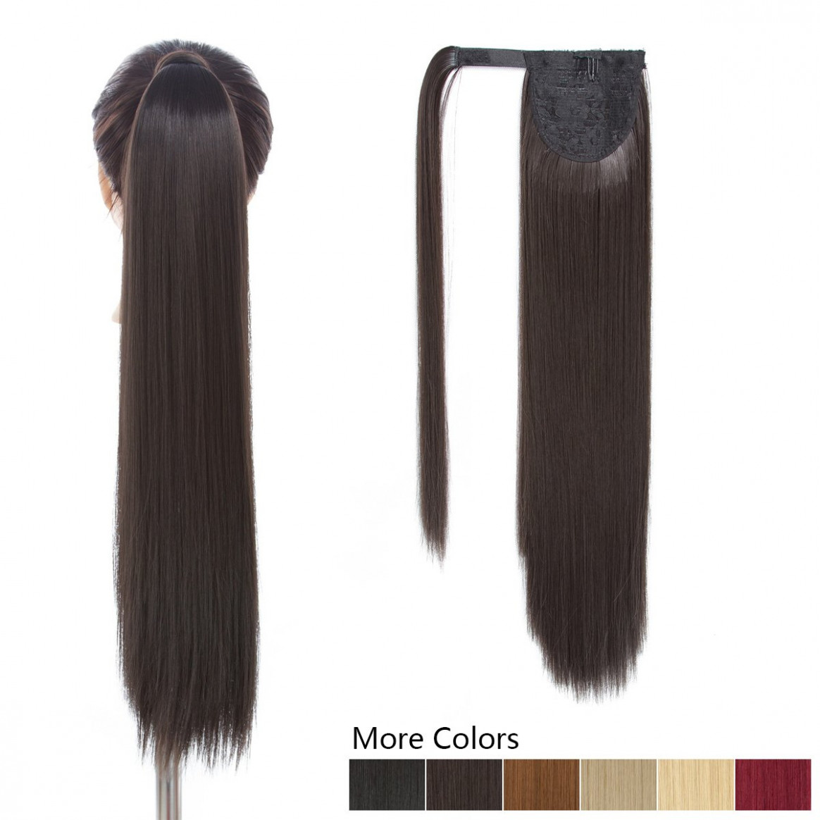 122 inch long ponytail hair extension dark brown 12 piece hairpiece synthetic wrap around pony tail clip in hair extensions for girl lady woman (122inch