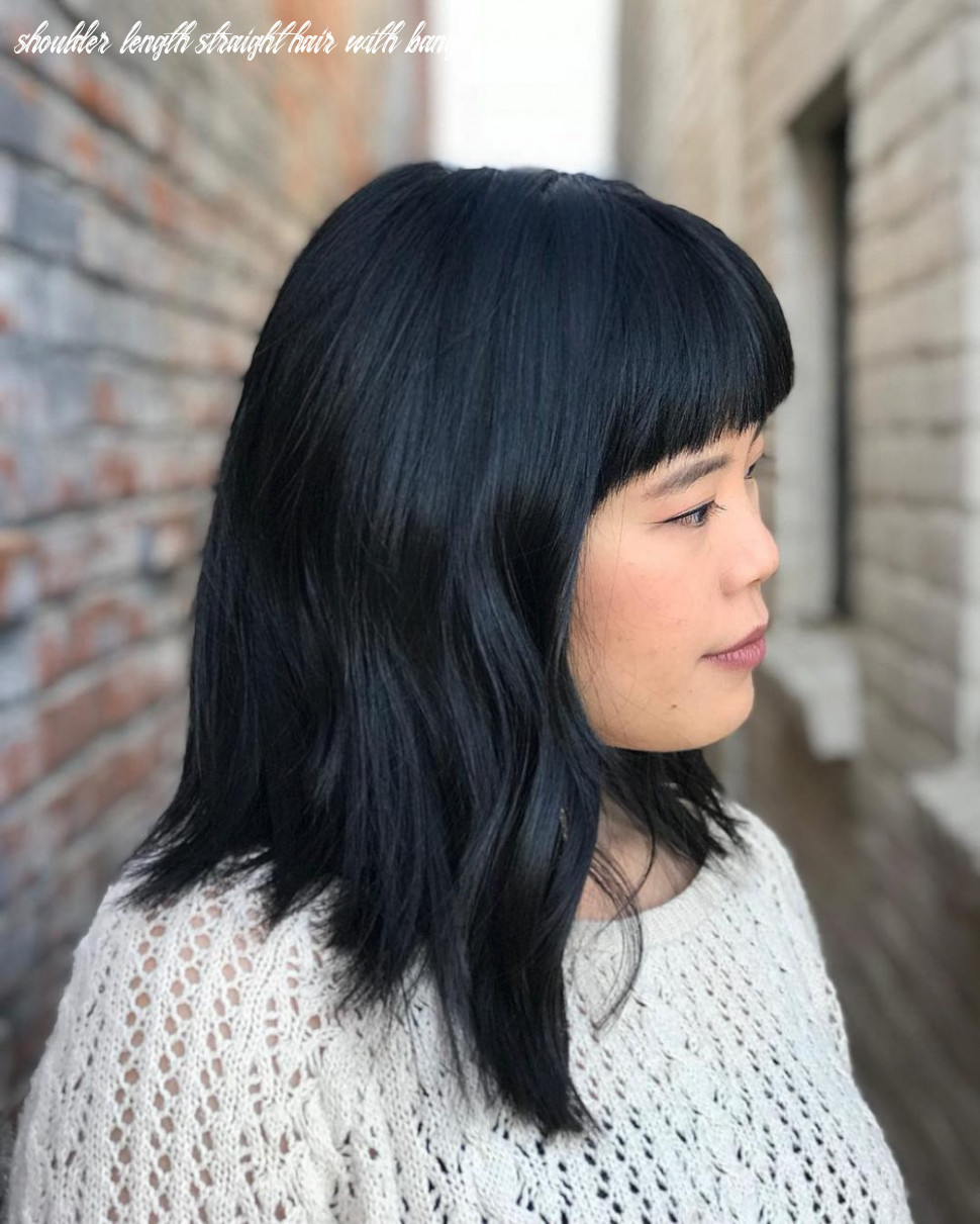 8 popular medium length hairstyles with bangs in 8 shoulder length straight hair with bangs
