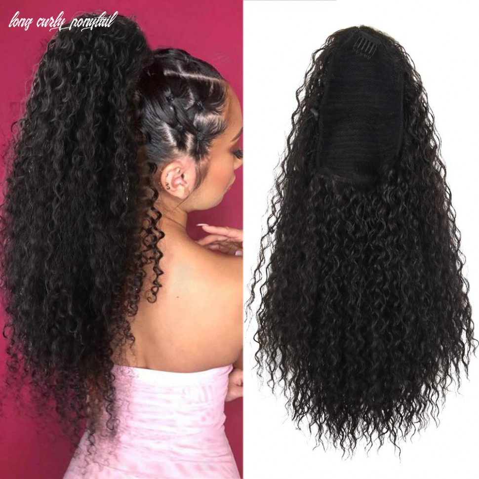 Aisaide drawstring ponytail extension 8in long curly ponytail extension with 8 plastic combs hairpiece (8#) long curly ponytail