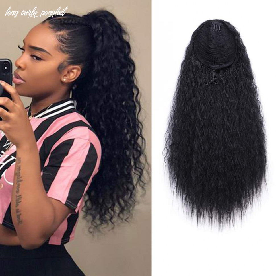 Aisi beauty long curly drawstring ponytail for women 8 inch clip in wavy natural ponytail extension for womens(8b) long curly ponytail