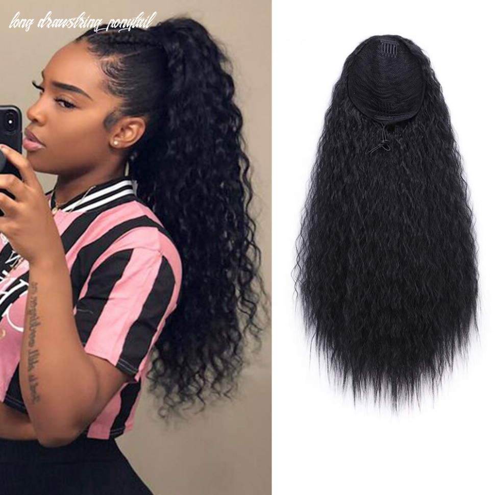 Aisi beauty long curly drawstring ponytail for women 9 inch clip in wavy natural ponytail extension for womens(9b) long drawstring ponytail