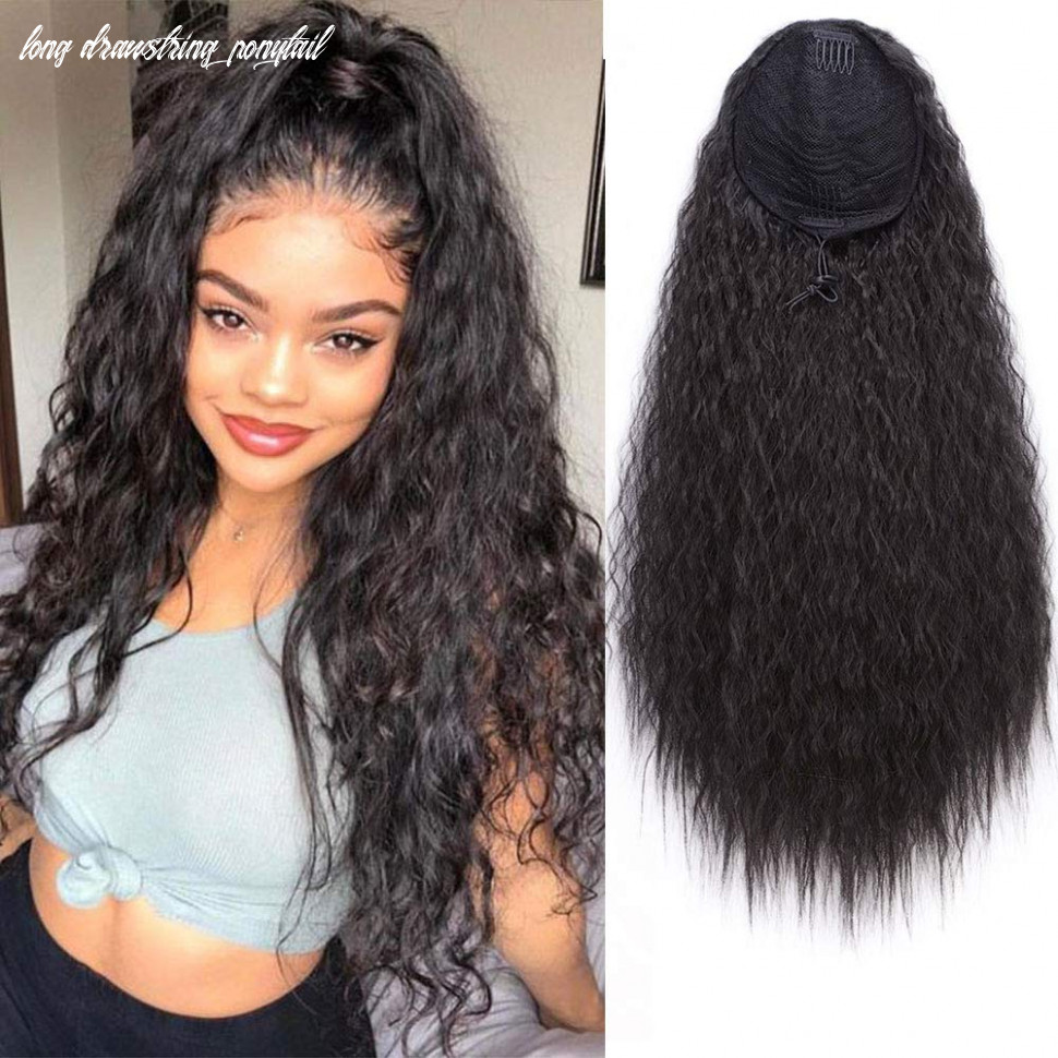 """Aisi beauty long drawstring ponytail extension synthetic 9"""" kinky straight bun ponytail clip on hair extensions ponytail for women(9#) long drawstring ponytail"""