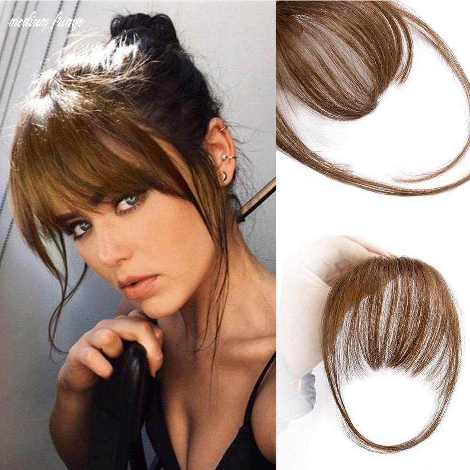 Aisi queens clip in bangs real human hair medium brown bangs one piece clip in fringe hair extensions for women medium fringe
