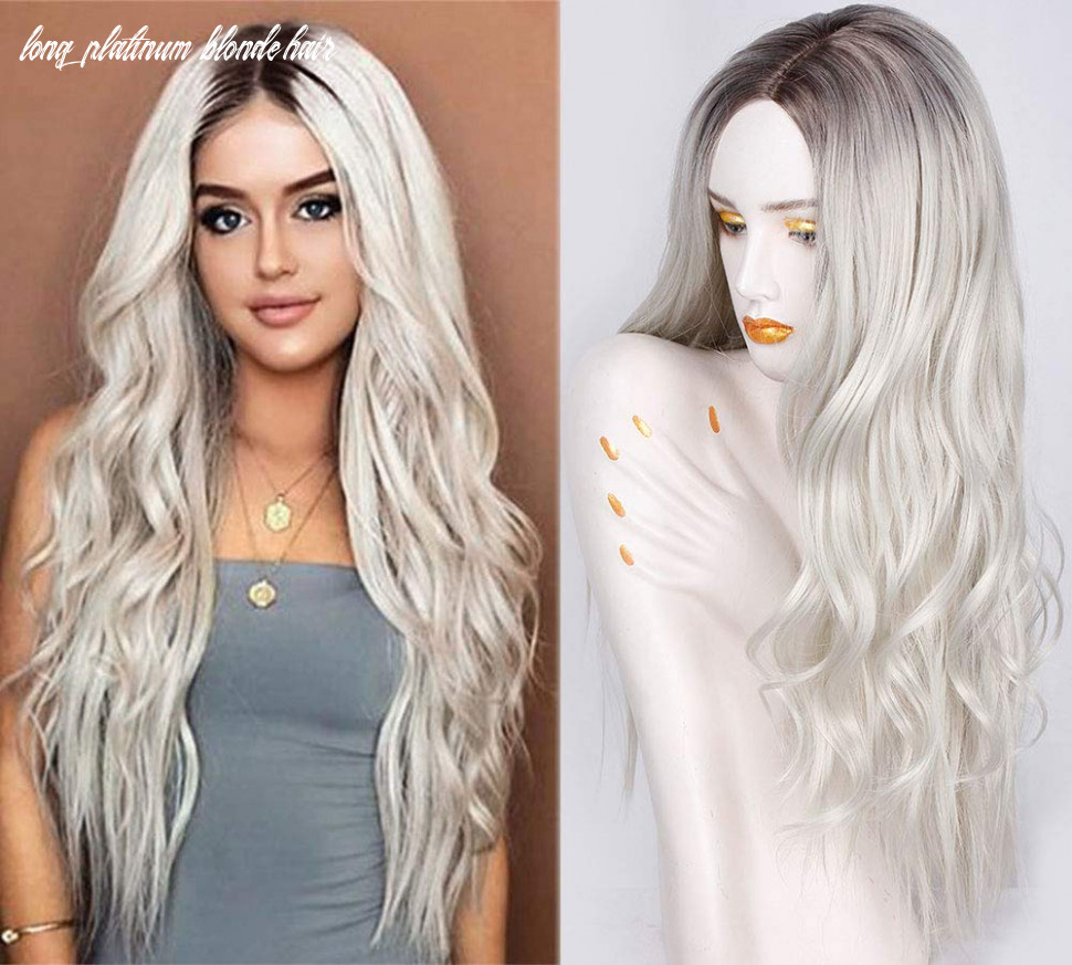 Aisi queens platinum blonde wig synthetic long curly wavy wig 10 inch middle parting wig ombre color wig for women daily party full wigs long platinum blonde hair