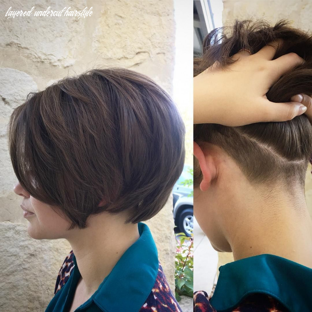 All sizes | brunette layered undercut bob with long side swept