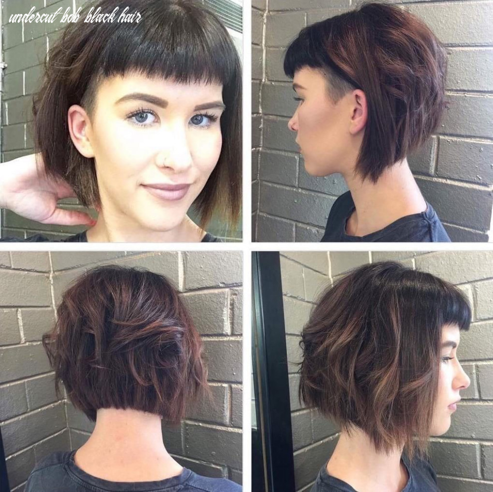 All sizes | short angled undercut bob with messy waves and baby