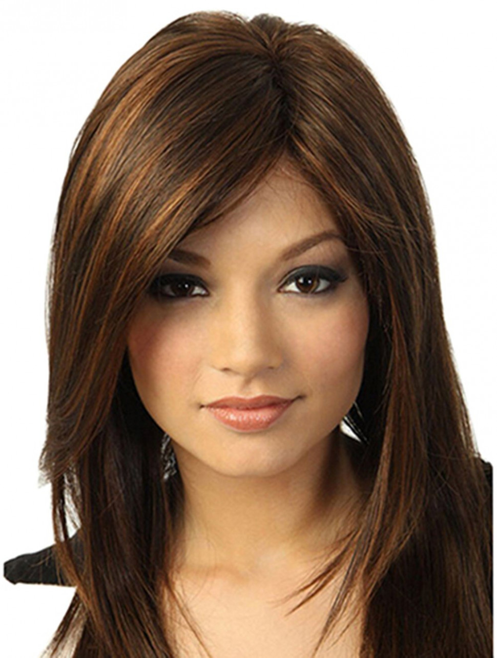 Amazon.com: Brown Medium Length Straight Synthetic Hair Wigs for ...