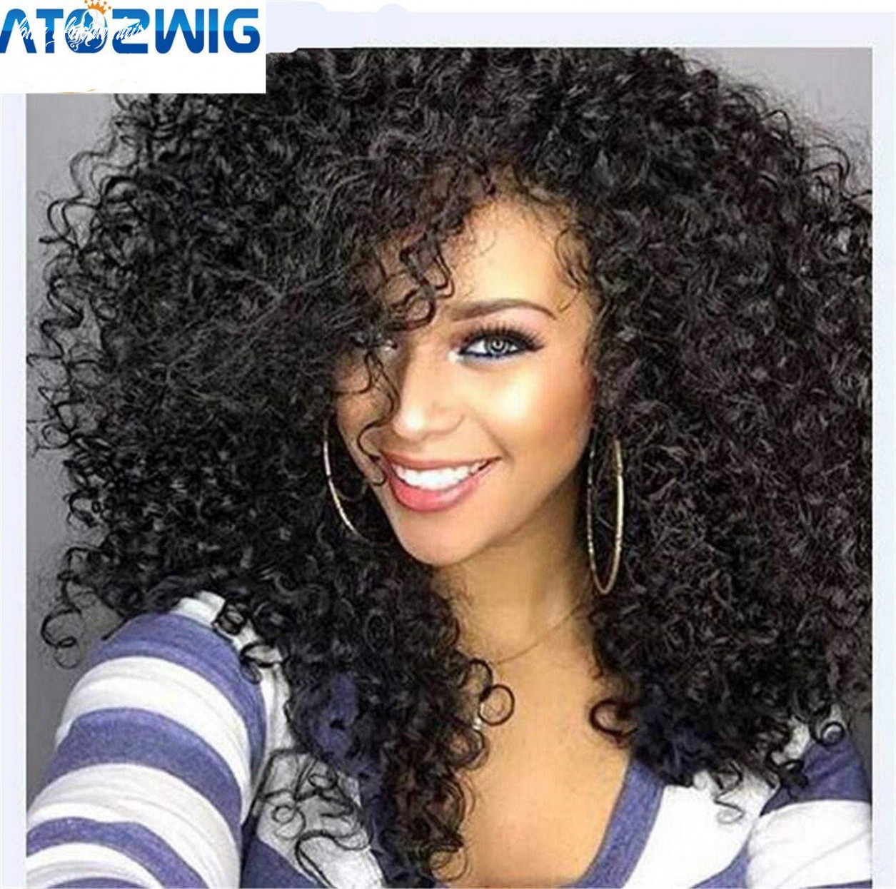 """Atozwig kinky curly afro wig 9"""" long kinky curly wigs for black women black hair wig african american synthetic cheap wigs for women long african hair"""