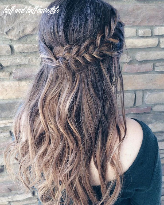 Beautiful braid half up and half down hairstyle for romantic
