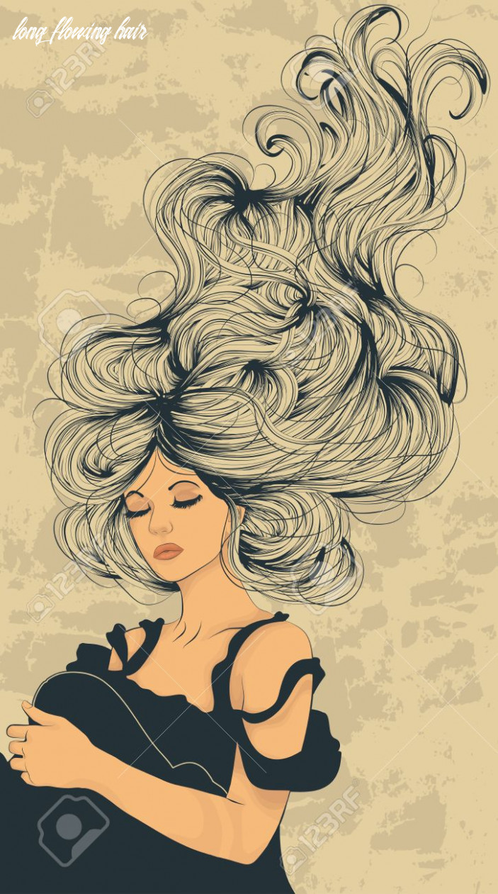 Beautiful woman with long flowing hair artistic illustration long flowing hair