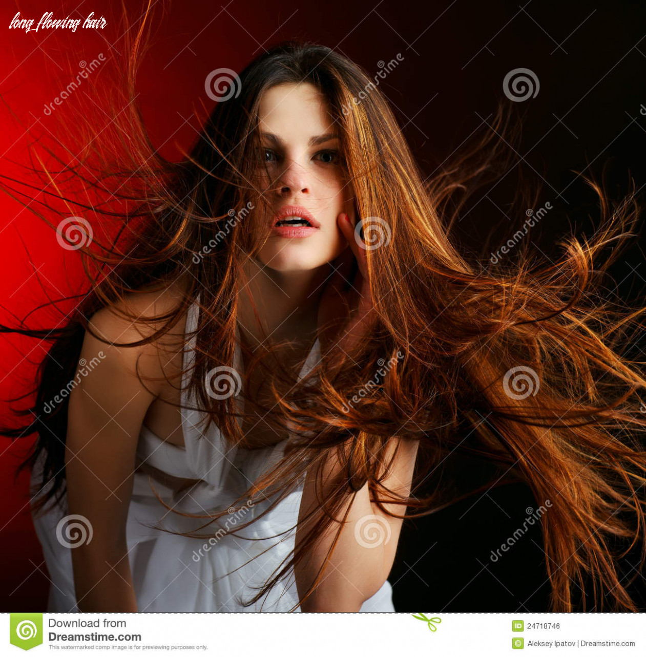 Beautiful woman with long flowing hair stock photo image of lips