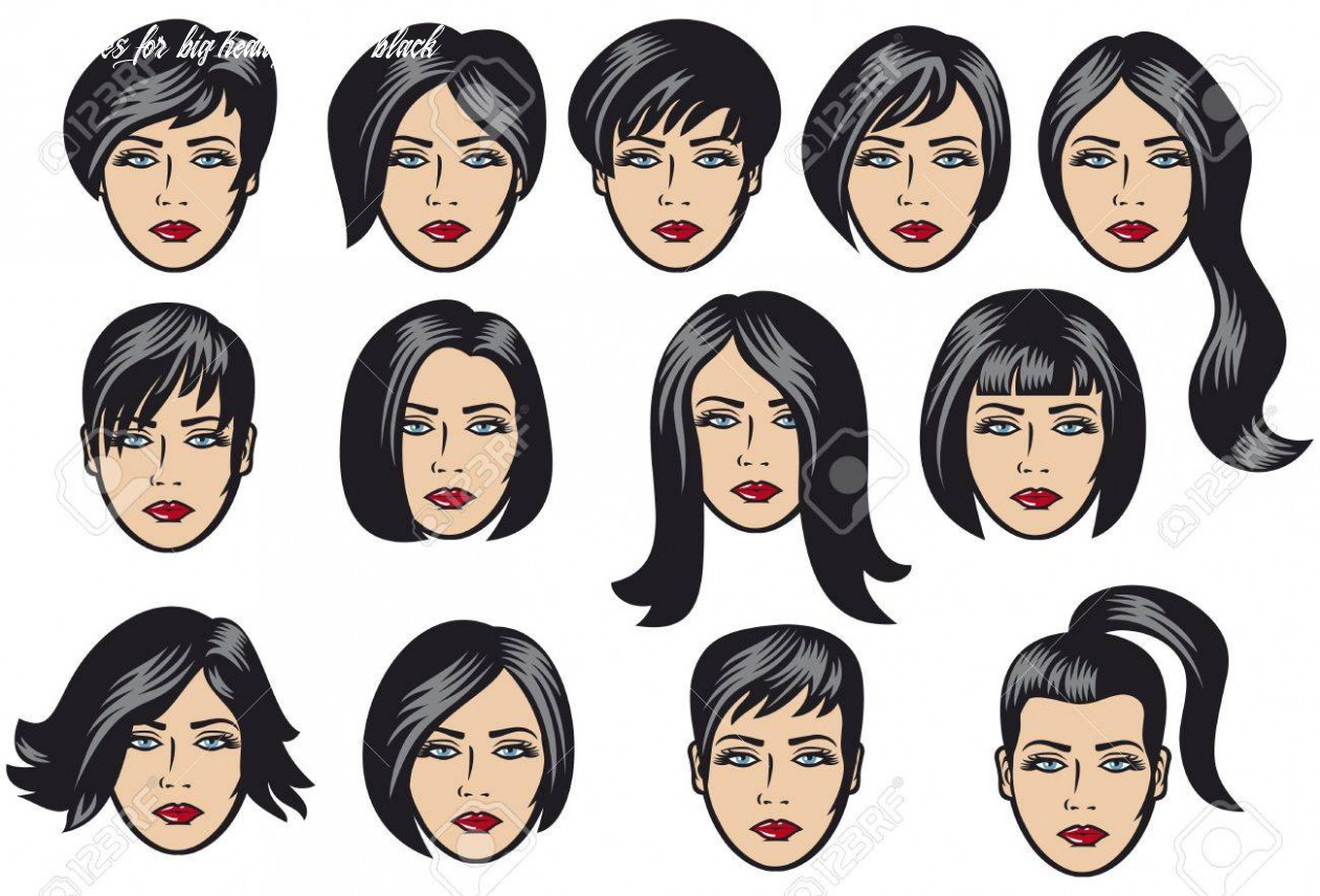 Big set of black hair styling for woman big set of vector hair