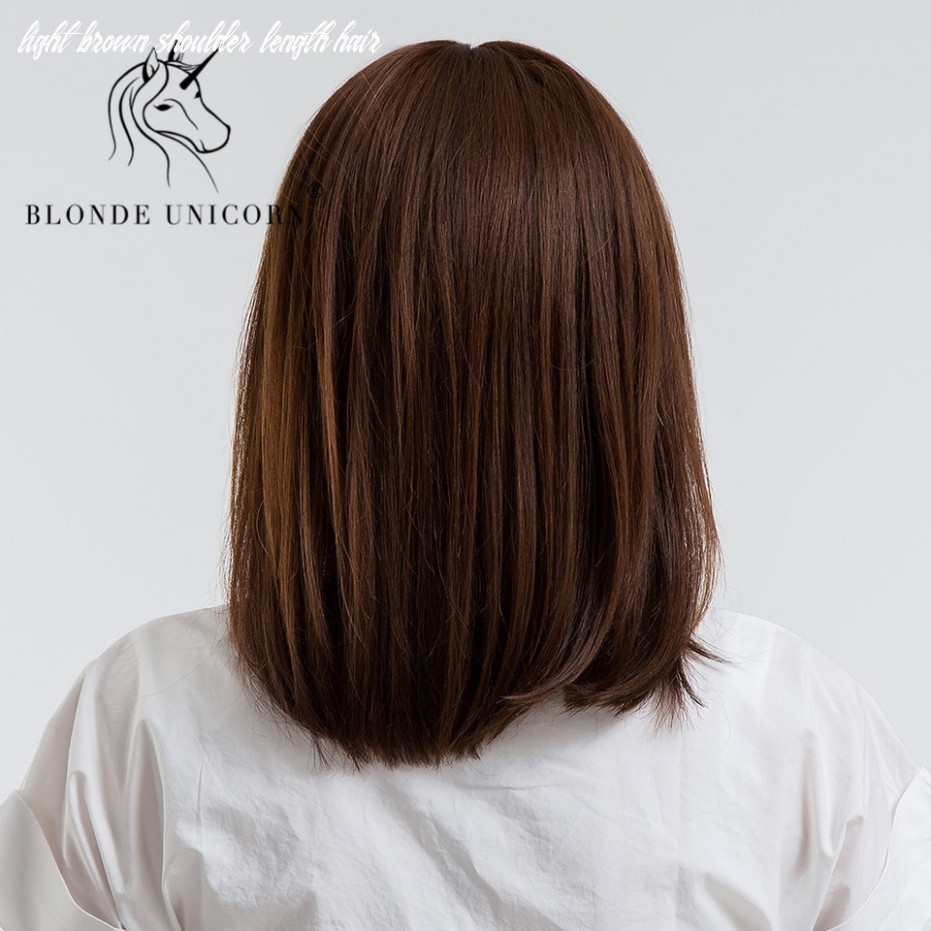 BLONDE UNICORN 10 Inch Straight Bob Hair Wig With Bangs Shoulder ...