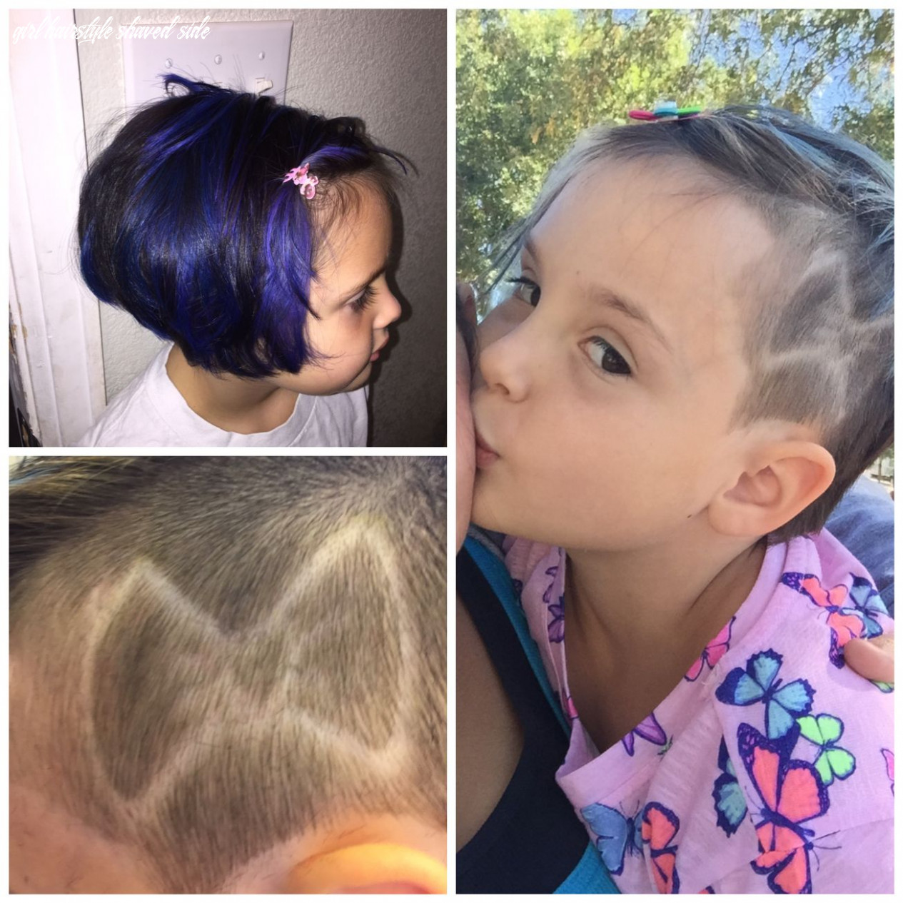 Blue hair and shaved on the side shaved design for little girls