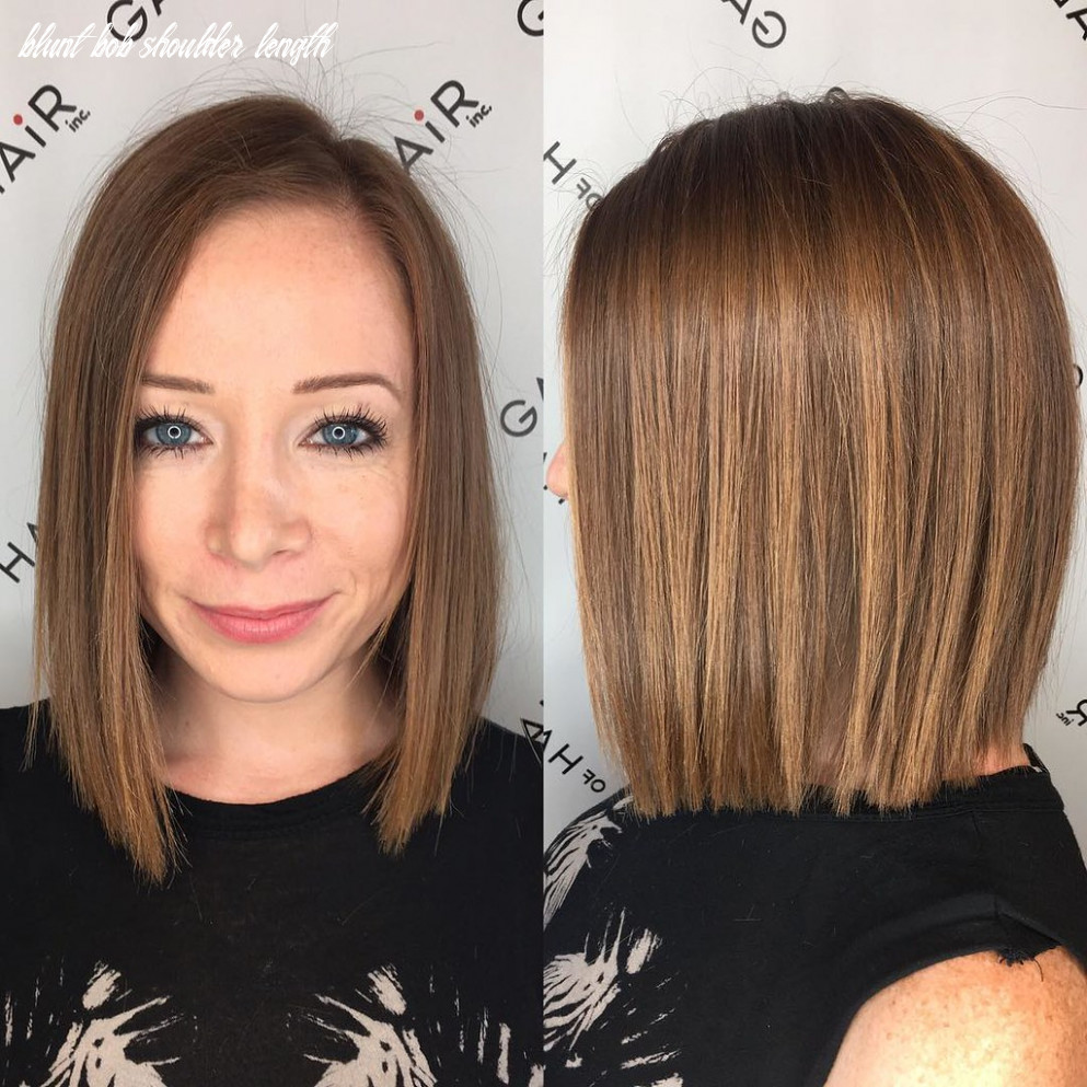 Blunt bronze shoulder length bob with textured ends and si… | flickr blunt bob shoulder length