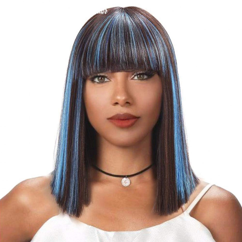 Bob wigs for black women black mixed blue hair wig with bangs shoulder length african american wigs p12 african american shoulder length hair