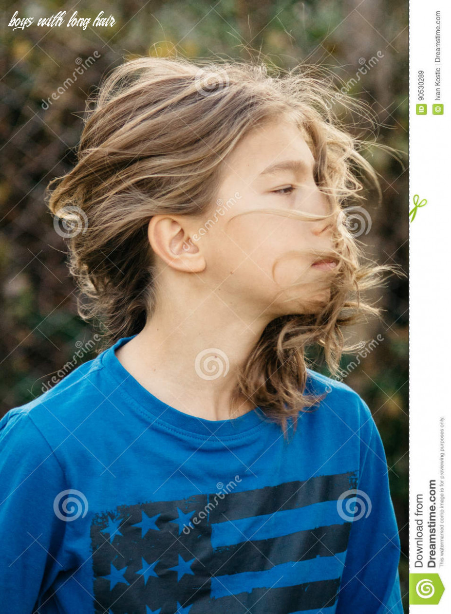 Boy with long hair stock image. Image of beautiful, dramatic ...