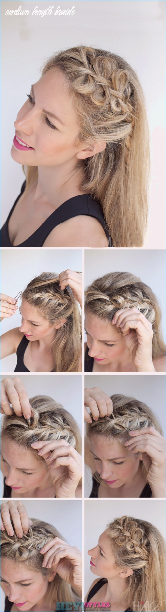 Braided shoulder-length hair: 9+ easy-to-use instructions for ...