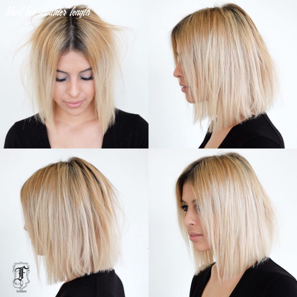 Curious shoulder length blunt long bob no bang hairstyles shoulder