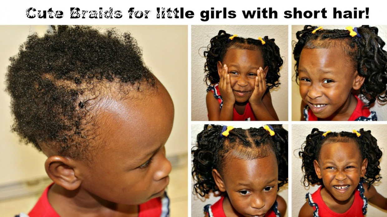 Cute Braids for Little Girls with Very Short Hair! | No Tension! |  No-Roller curls!