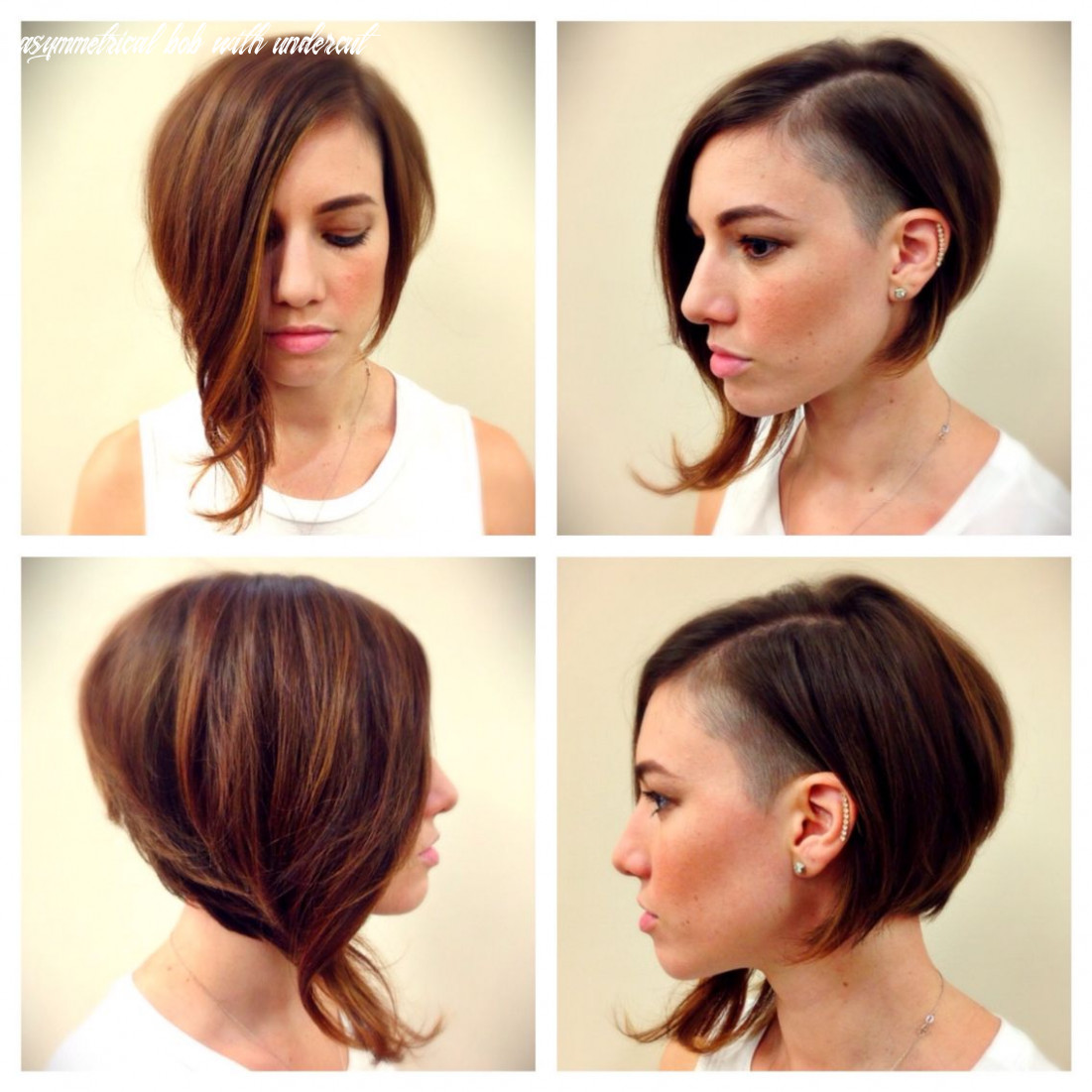 Cute funky short hair asymmetrical bob undercut by @ag colour