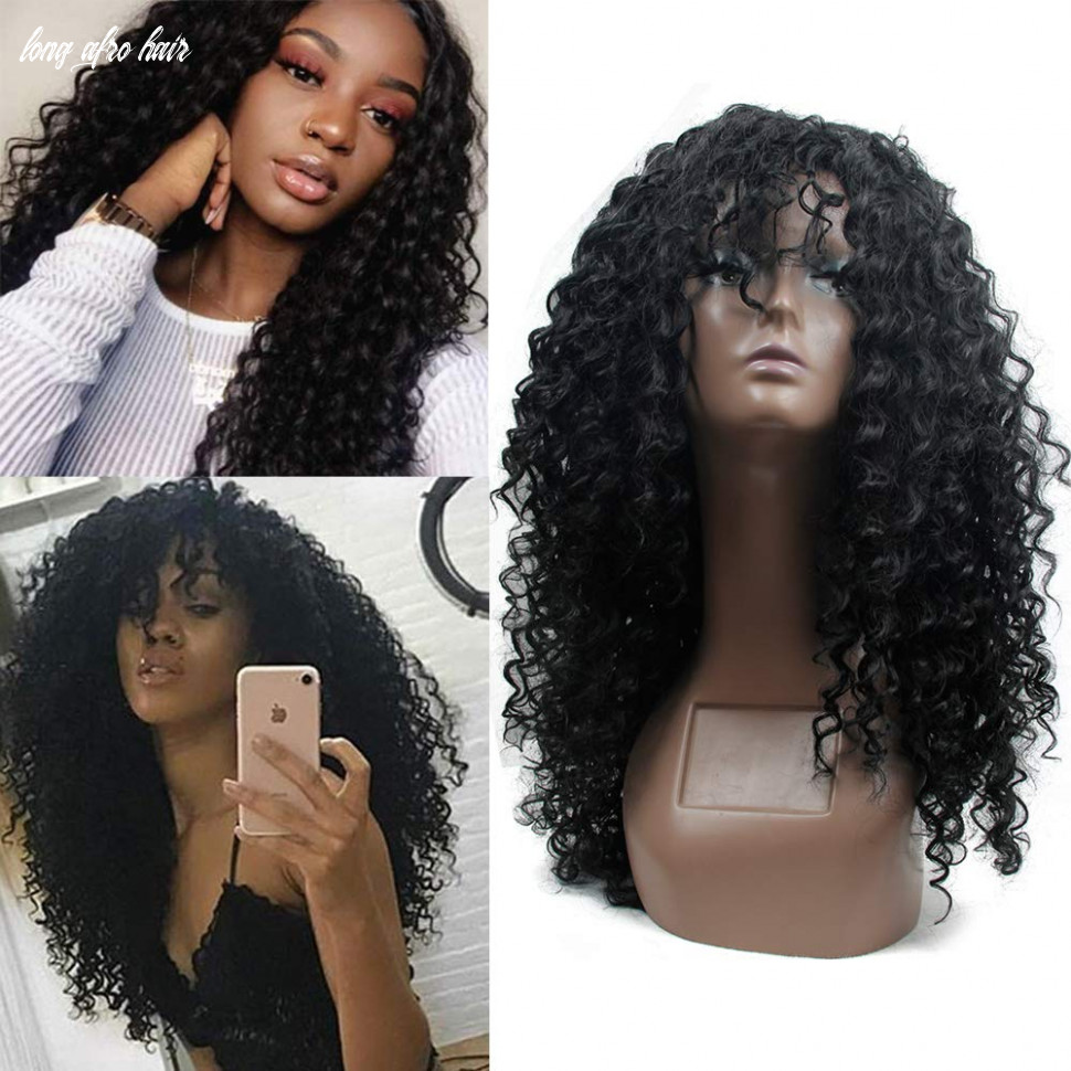 Deep Curly Wigs for Black Women Long Afro Curly Wig With Bangs,High Density  Natural Black Color Layered Synthetic Full Wigs