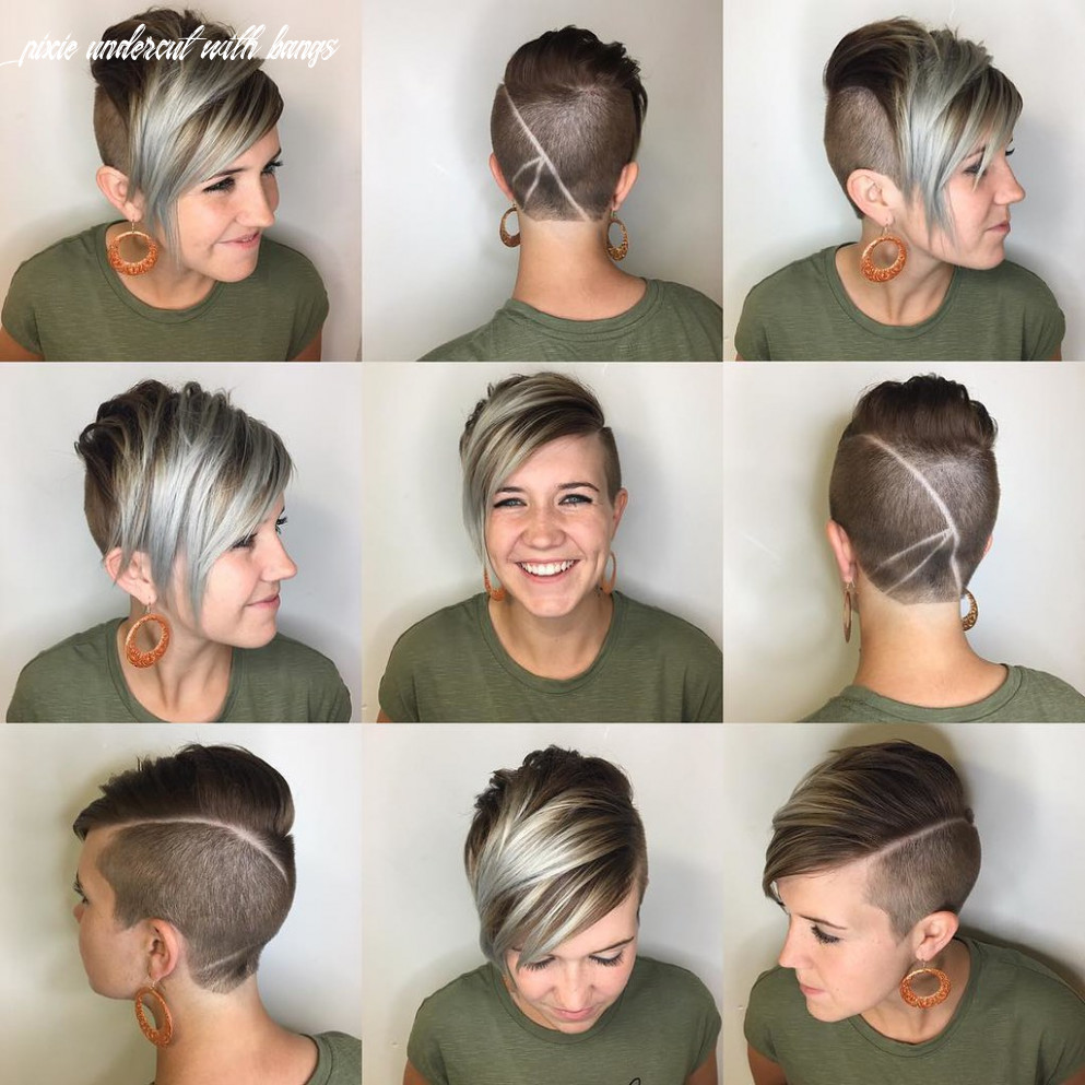 Edgy Brunette Undercut Pixie with Platinum Highlighted Fri… | Flickr