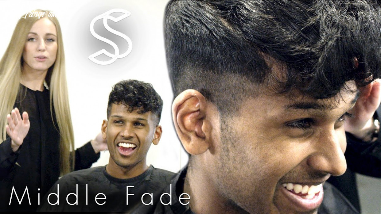 Fade hairstyle curly fringe for men barber hairdresser haircut curly fringe male