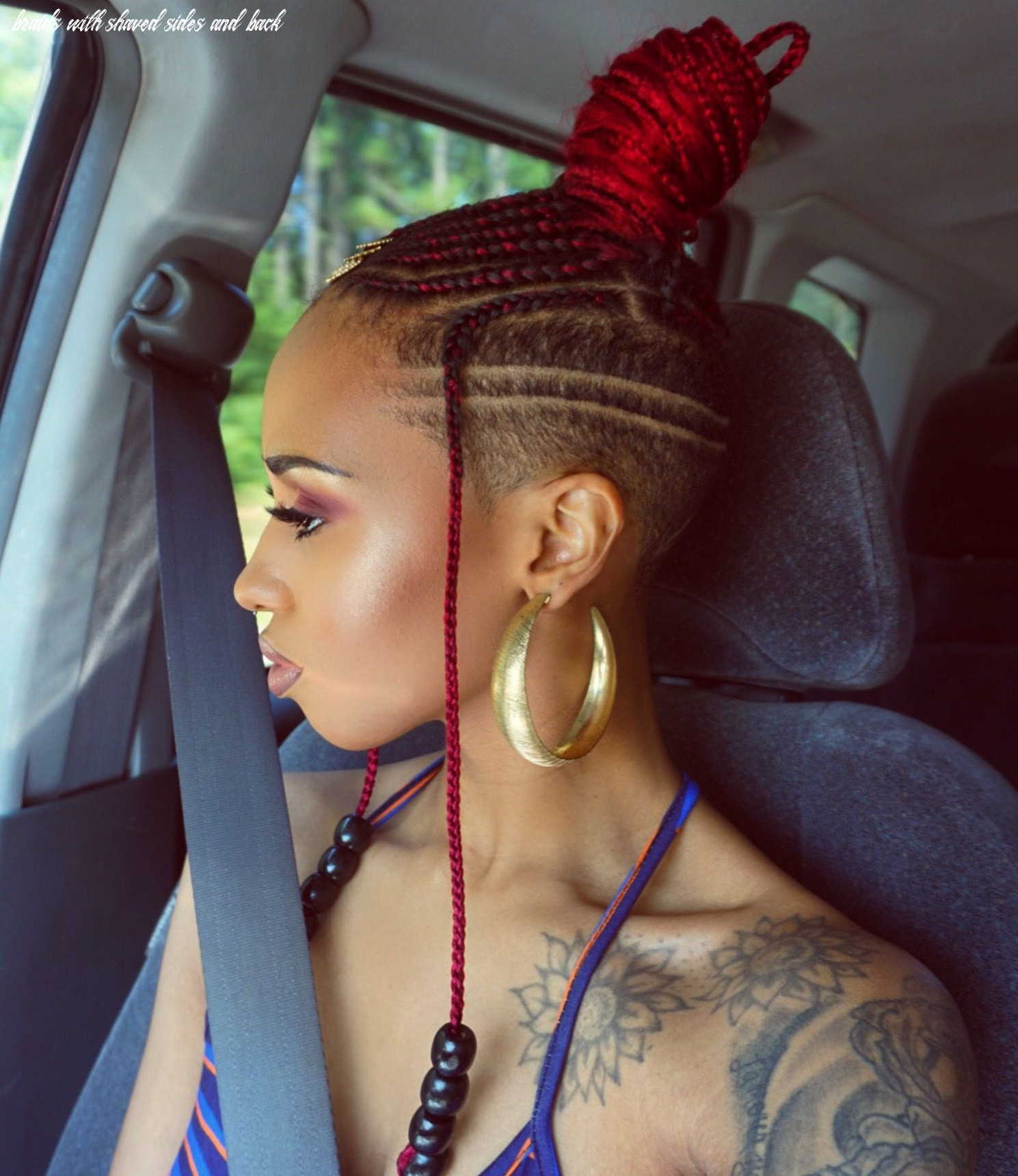 Feed in braids with shaved sides/back | braids with shaved sides