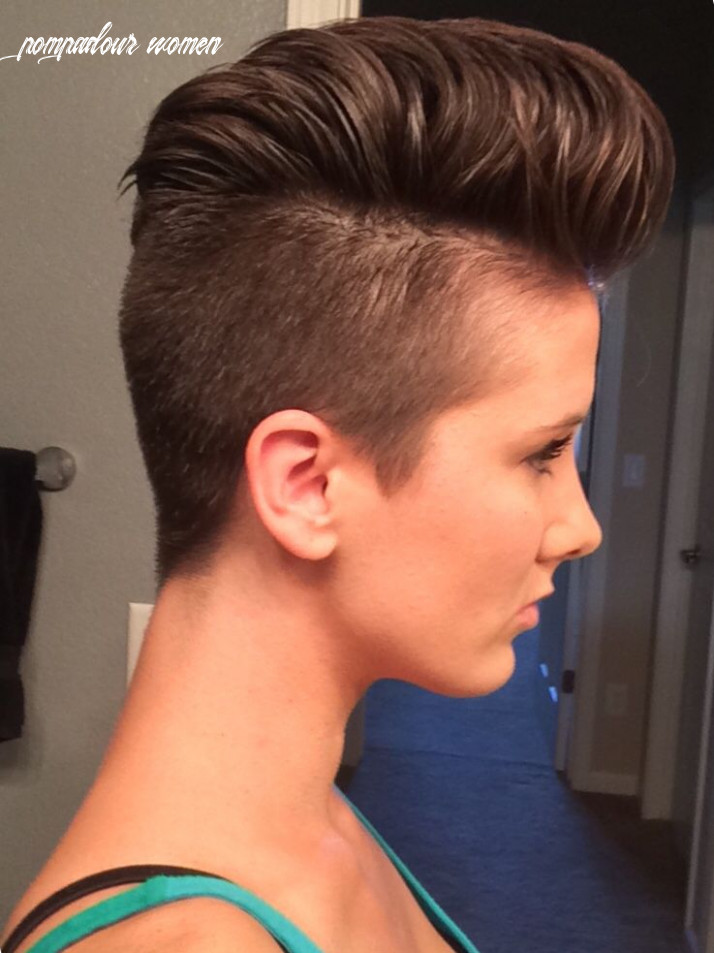 Female pompadour shaved hairstyle shaved sides womens hair