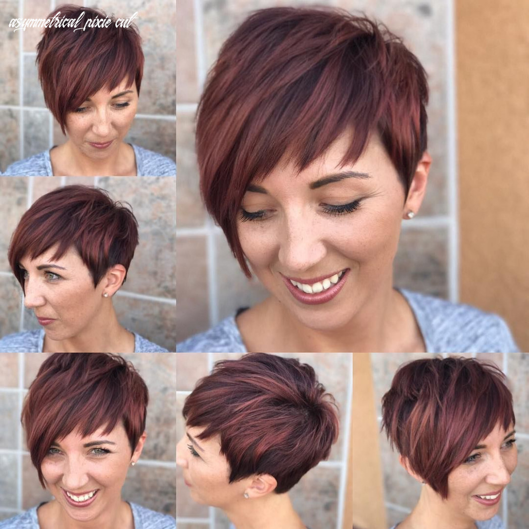 Get this hairstyle: shaggy asymmetrical pixie with asymmetrical