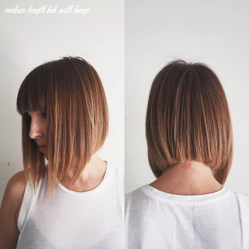 Ginger a line bob with full blunt bangs and highlights medium