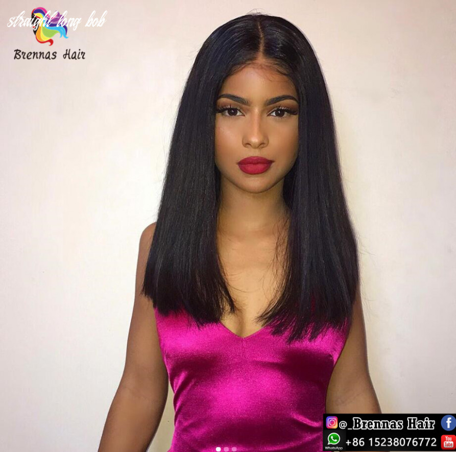 Glueless lace front wig unprocessed natrual straight long bob wig