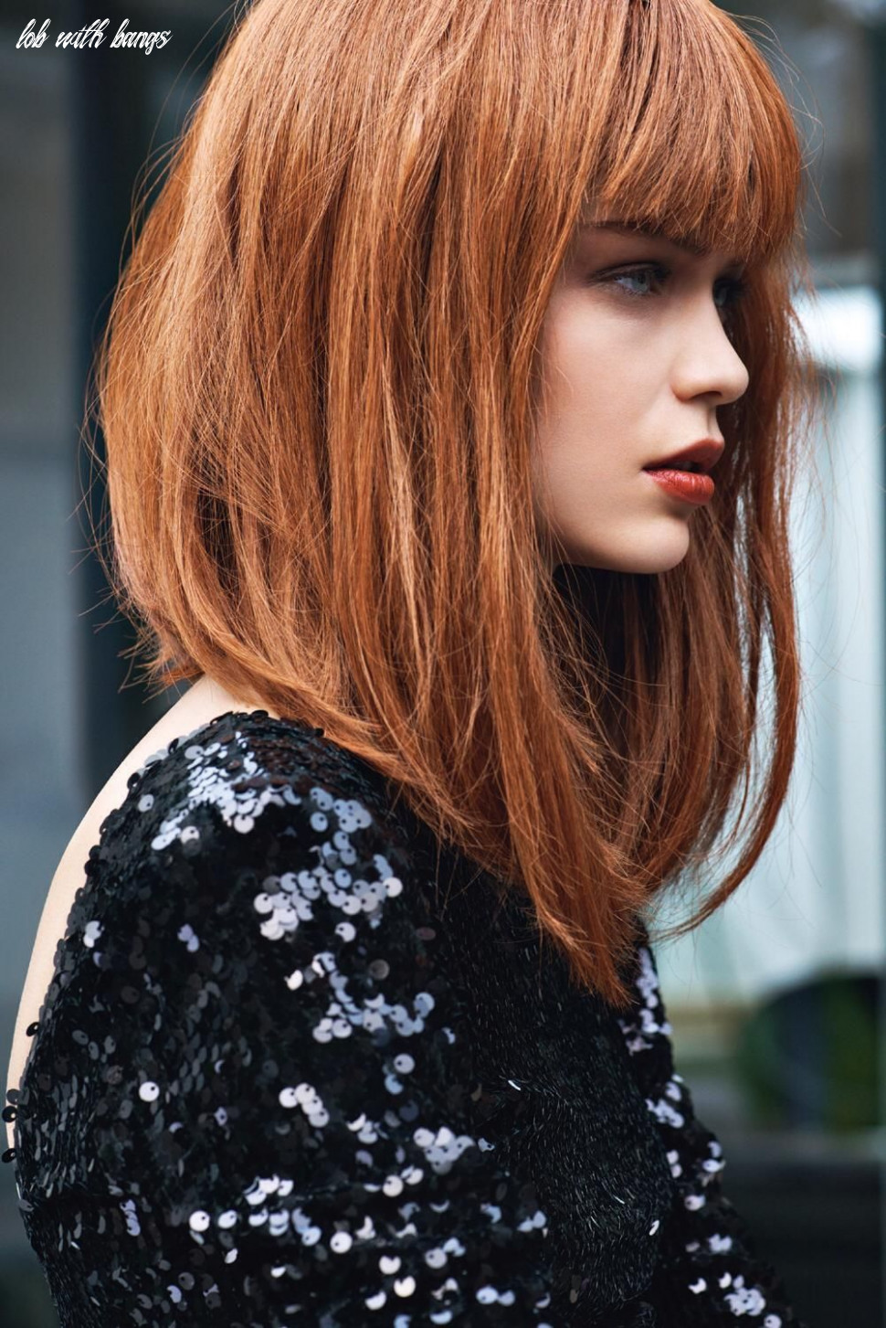 Gorgeous red lob with longer front pieces | medium hair styles