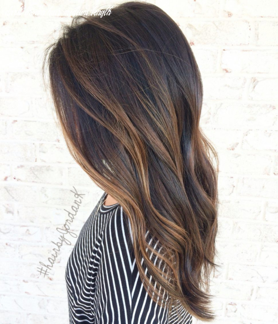 Hair color:balayage dark brown hair at home caramel on medium