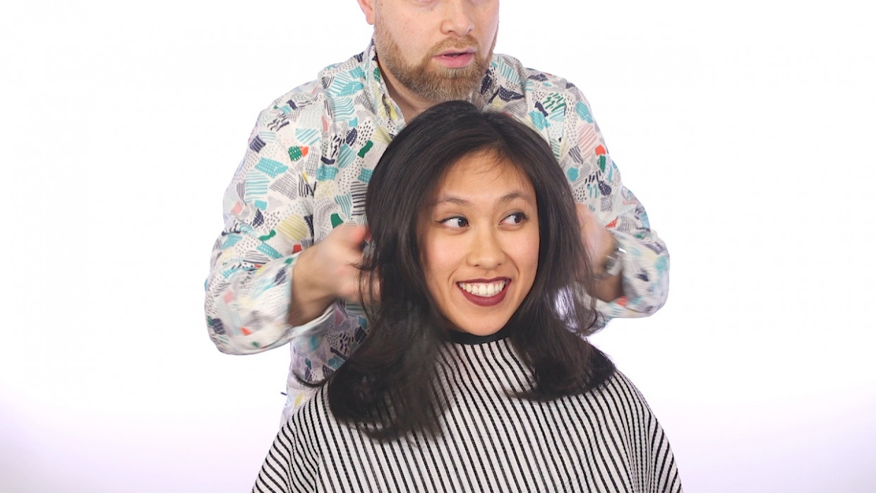 Haircut Tutorial - Medium Length Layers - Asian Hair - TheSalonGuy
