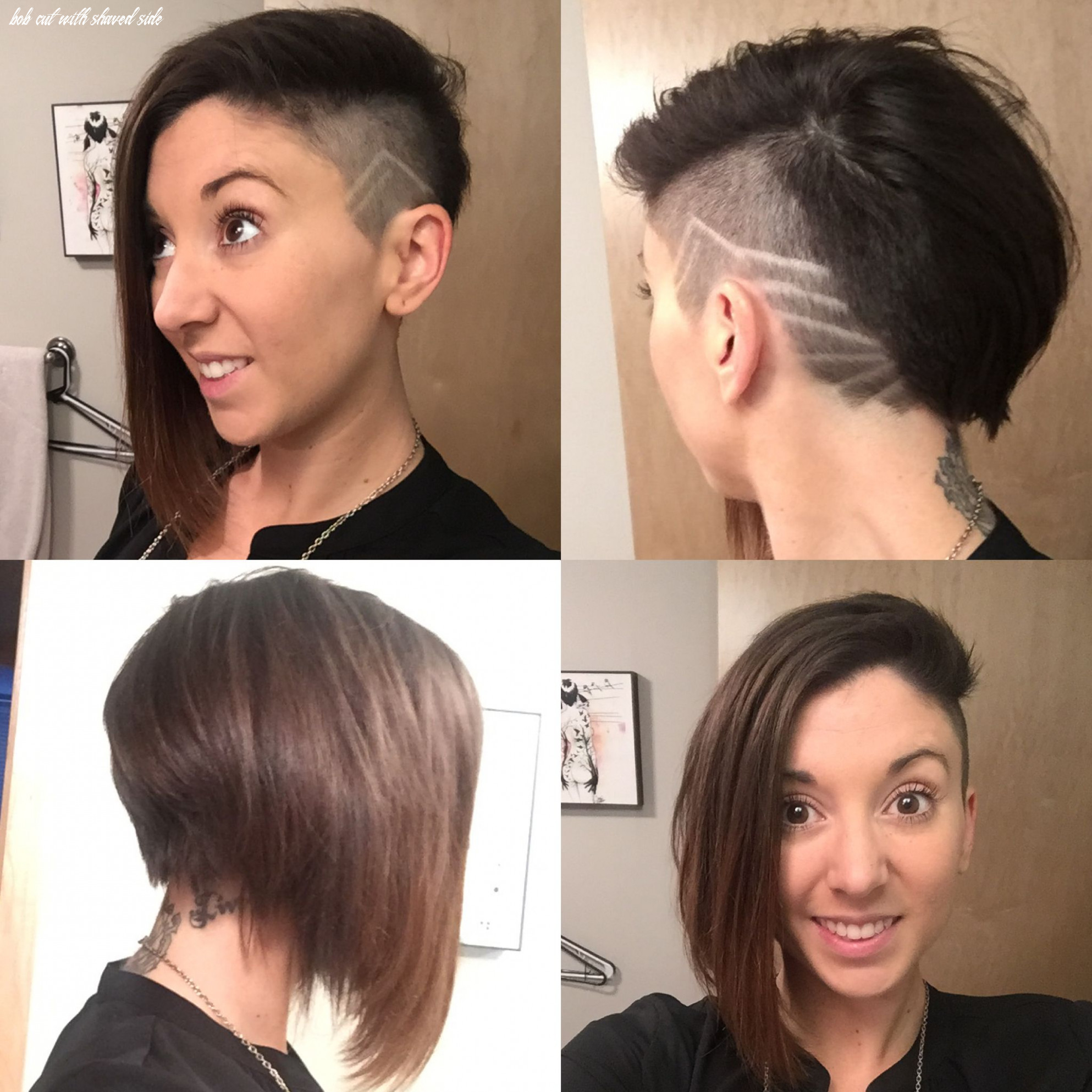 Hairstyle shaved side with design and angled bob (with images
