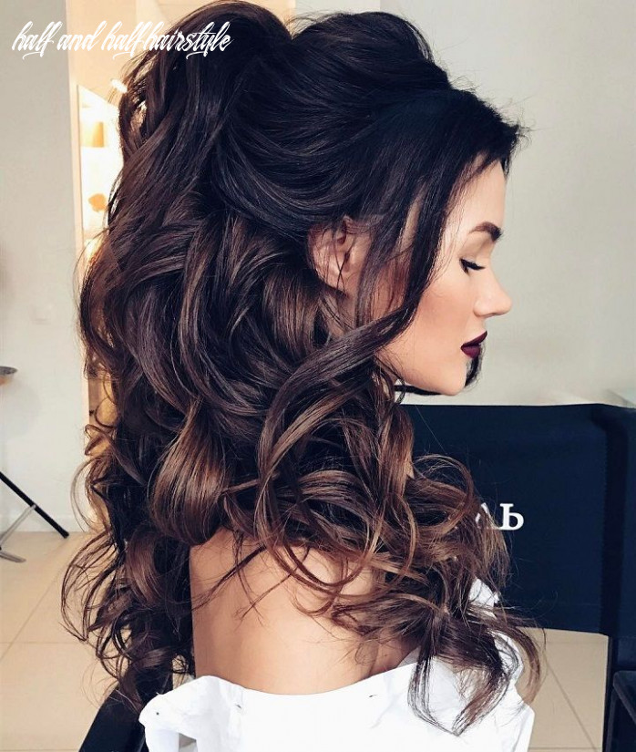 Half up half down hairstyles partial updo wedding hairstyle is a