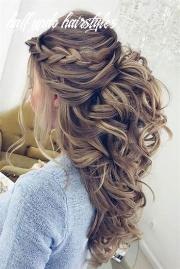 Half up half down wedding hairstyles updo for long hair for medium