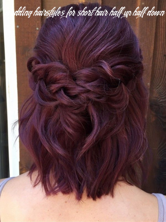 Half up plaited wedding hairstyle for short hair #wedding