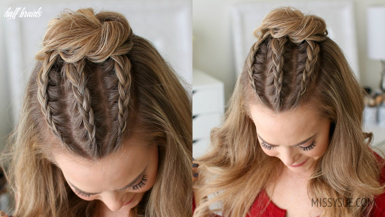 Half up triple braid mini bun | missy sue half braids