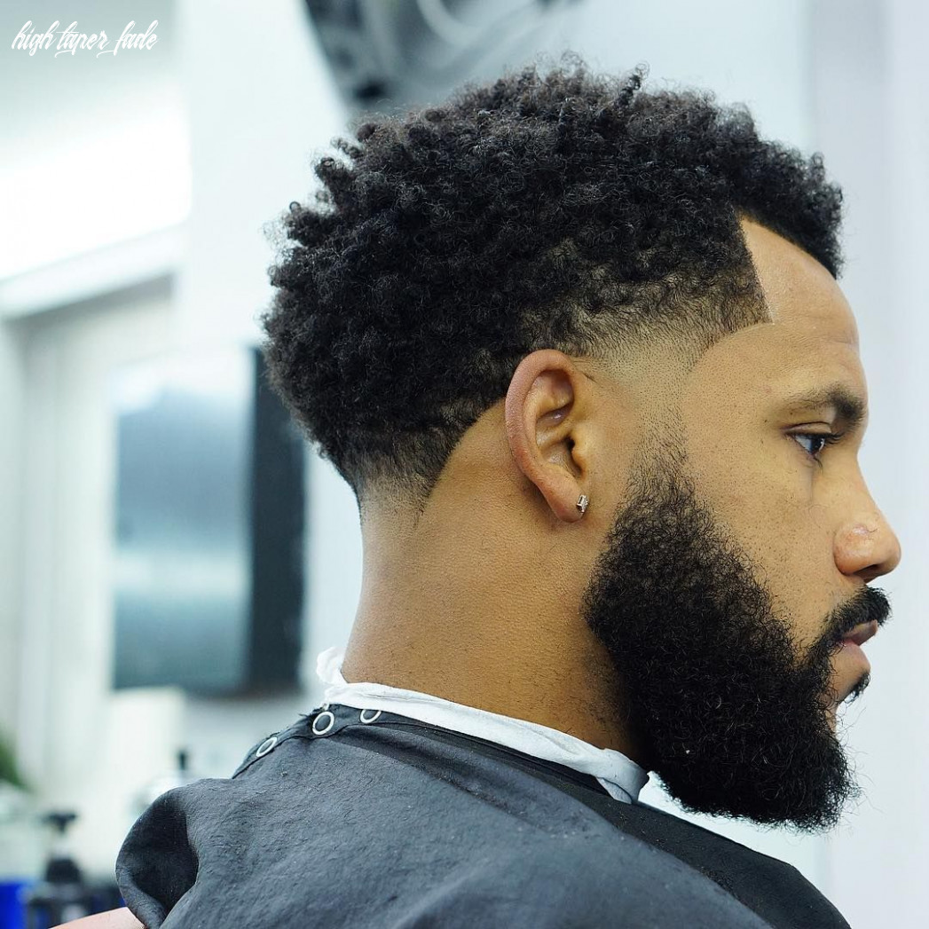 High taper fade for curly hair #blackhairstylesmen | temp fade