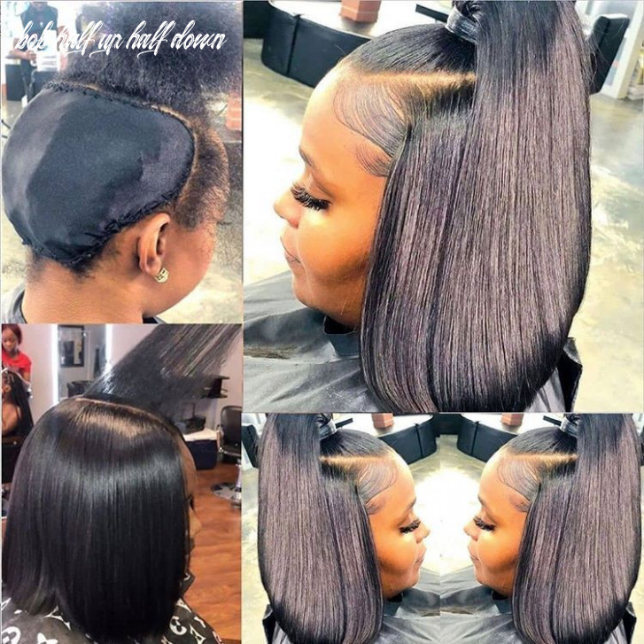 Human hair straight short bob lace front wigs   quick weave