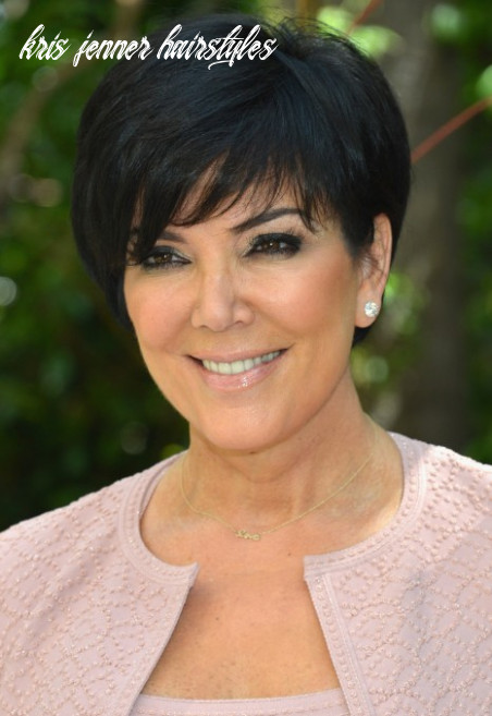 Kris Jenner Short Black Haircut with Side Swept Bangs - Hairstyles ...