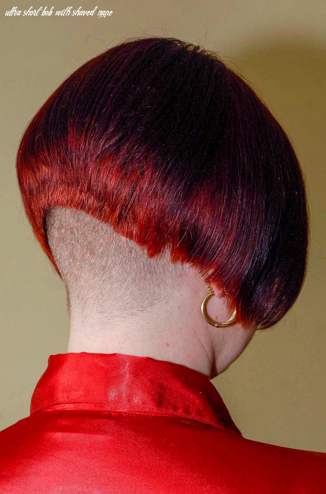 Lady in red | shaved nape, short bob hairstyles, girls short haircuts ultra short bob with shaved nape