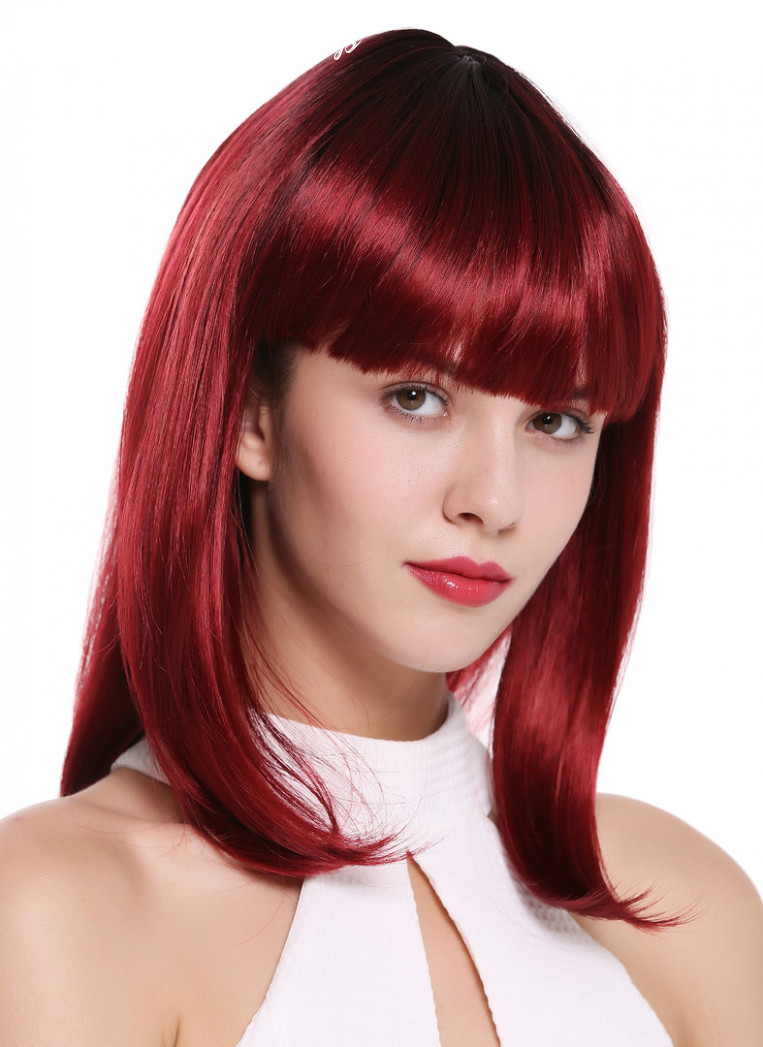 Lady Quality Wig short shoulder length Bob Longbob sexy bangs fringe  straight black red mix 12""